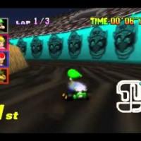 Luigi dérape sur le stage Wario dans Mario Kart 64