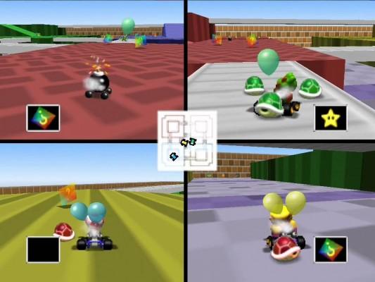 Le mode Battle avec les ballons dans Mario Kart 64