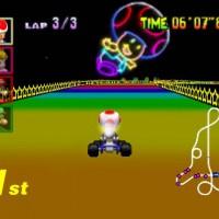 Toad en premoère position sur la route arc-en-ciel dans Mario Kart 64