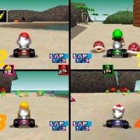 4 joueurs s'affrontent en battle dans Mario Kart 64
