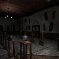 Obscuritas salle décorations masques et casques