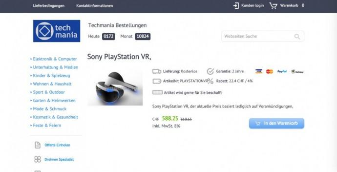 Playstation VR site Suisse