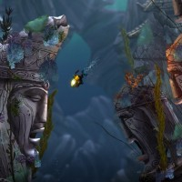 Song of the Deep sous marin avec statues en ruines