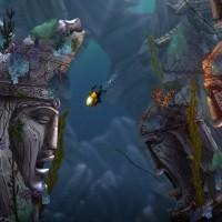 Song of the Deep sous marin avec statues en ruines