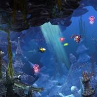 Song of the Deep sous marin dans des ruines entouré de méduses et de poissons
