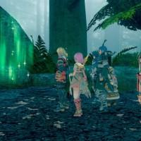 Star Ocean: Integrity and Faithlessness groupe dans la forêt devant une lumière verte