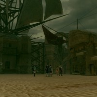 Star Ocean: Integrity and Faithlessness groupe dans une ville du désert