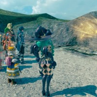 Star Ocean: Integrity and Faithlessness groupe devant un rocher brillant