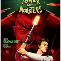 The Deadly Tower of Monsters affiche avec Jonathan Digby qui tient une arme comme un sabre