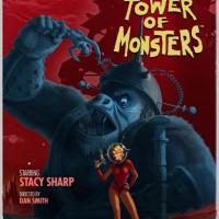 The Deadly Tower of Monsters affiche avec un singe géant dévorant le héros et Stacy Sharp devant