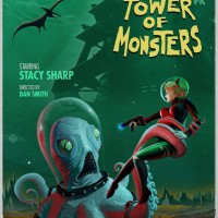 The Deadly Tower of Monsters affiche où une pieuvre tient Stacy Sharp qui lui tire dessus