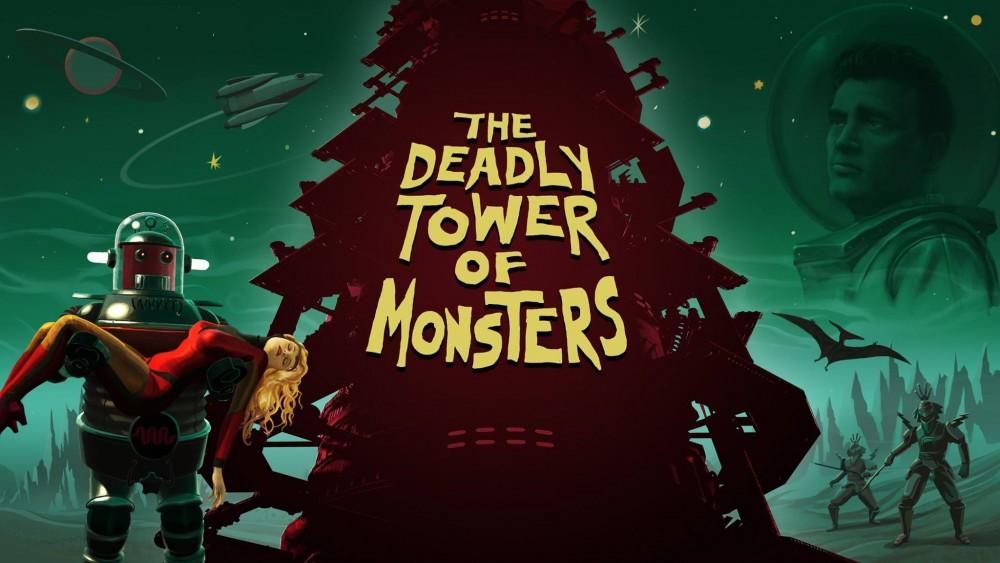The Deadly Tower of Monsters logo et robot portant une jeune femme