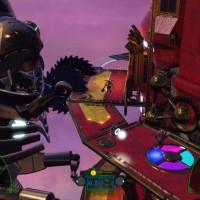 The Deadly Tower of Monsters robot évite une scie géante