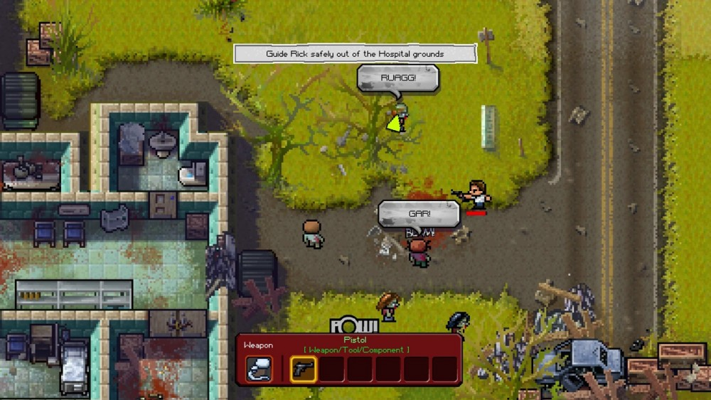 The Escapists The Walking Dead attaque de zombis hors de l'hôpital