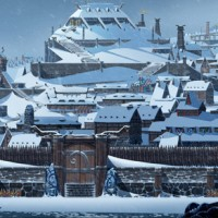 Une cité médiévale de The Banner Saga