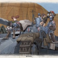 Valkyria Chronicles Remastered groupe de héros assis sur un tank