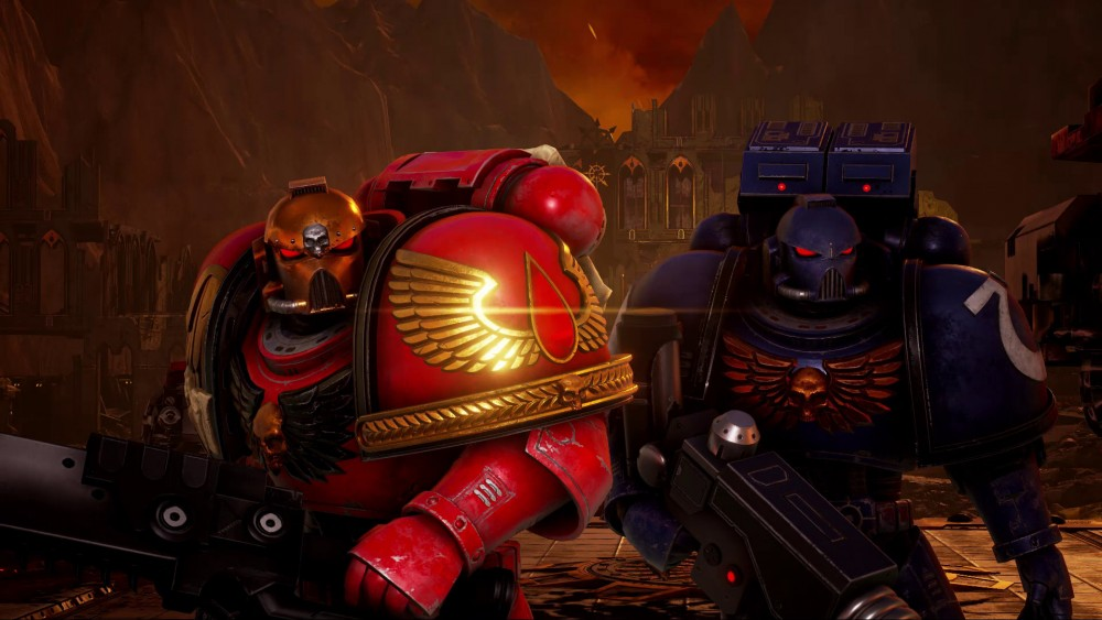Warhammer 40 000 eternal crusade Space Marine rouge et space marine bleu