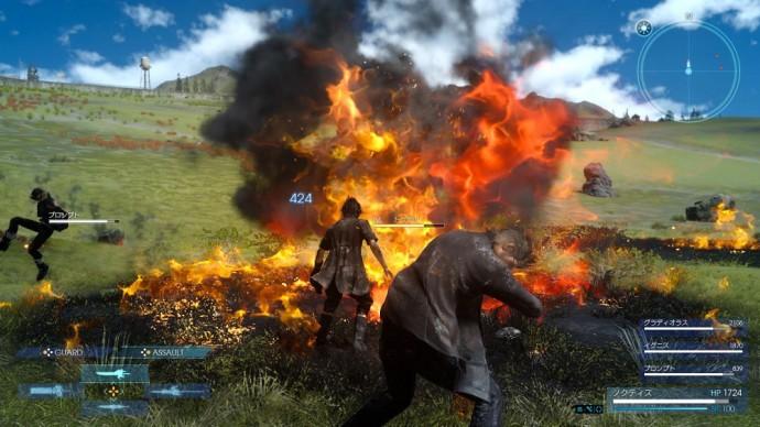 Noctis lance Brasier sur ses ennemis dans Final Fantasy XV