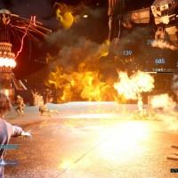 Un mur de flamme se dresse sur les ennemis dans Final Fantasy XV