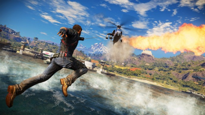 Just Cause 3 Rico face à un hélicoptère