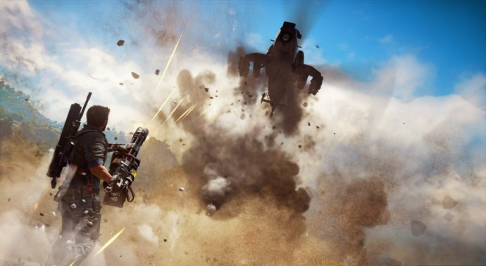 Just Cause 3 Rico dézingue un hélico à la gatling
