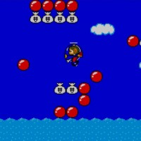 Alex Kidd in Miracle World Alex en hélicoptère survole la mer