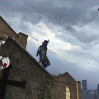 Assassin's Creed Identity héros grimpe sur un toit derrière un garde