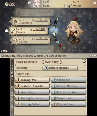 Bravely Second End Layer menu de sélection de classe