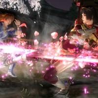 Dead or Alive 5 Last Round Naotora donne un coup de pied avec des pétales de cerisier