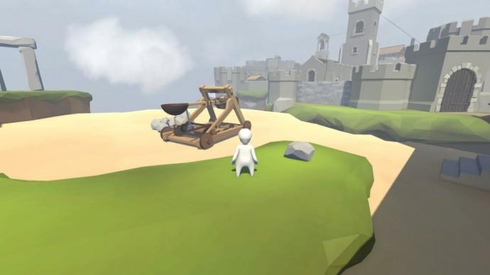 Bob regarde une catapulte et un chateau