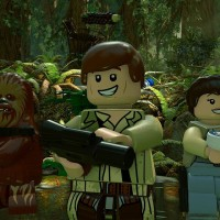 Les personnages de LEGO Star Wars: le Réveil de la Force sur la planète d'Endor