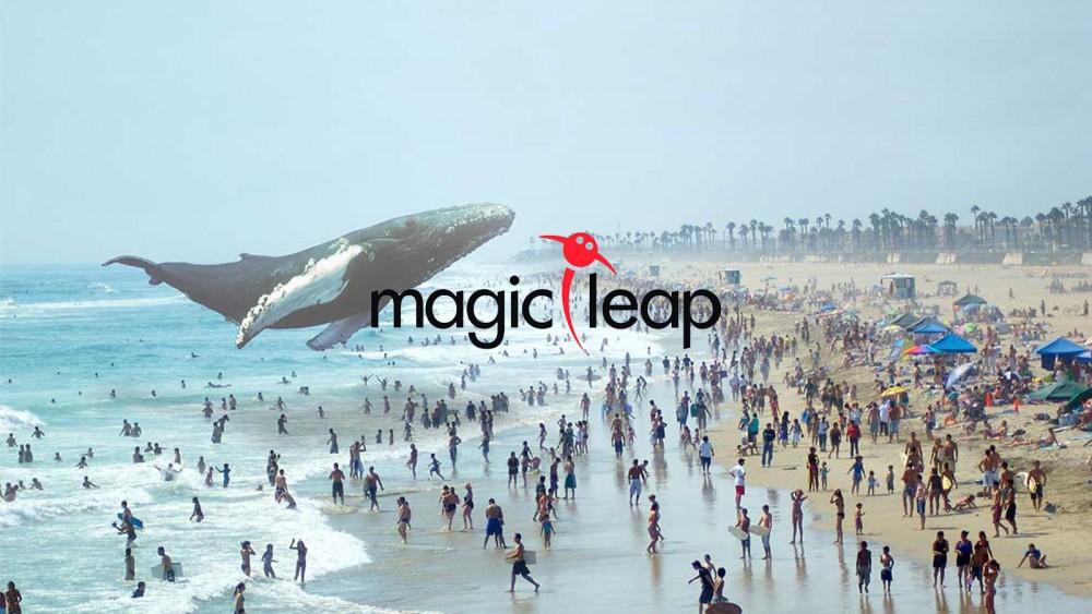 Baleine au dessus de la mer et logo Magic Leap