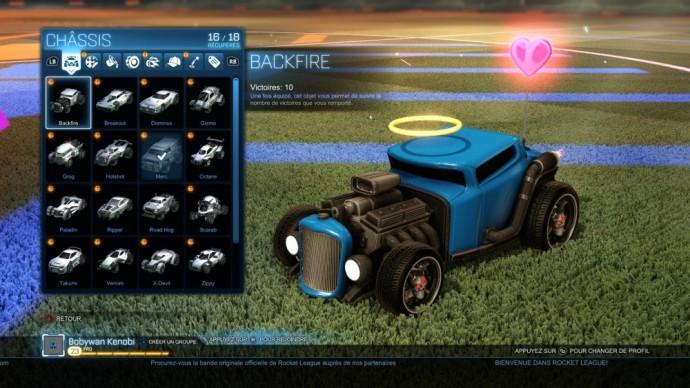 Le menu garage de Rocket League