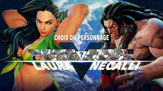 Street Fighter V écran de sélection du personnage en mode Versus