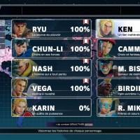 Street Fighter V choix du personnage en mode Histoire