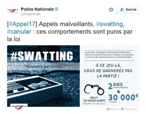 Swatting Tweet Police Nationale