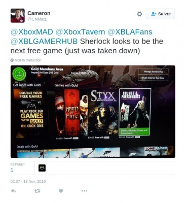 Tweet Fuite des games with gold mars 2016