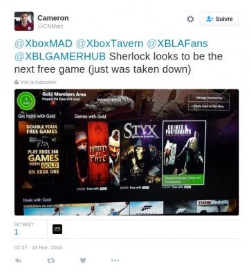 Tweet Fuite des games with gold mars 2016