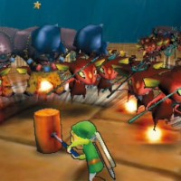 Link face à a une horde d'ennmis dans Hyrule Warriors: Legends