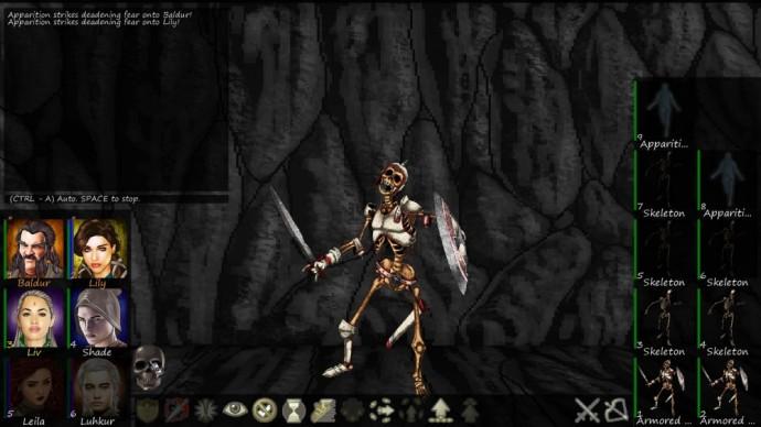 Swords and Sorcery écran de combat contre un squelette