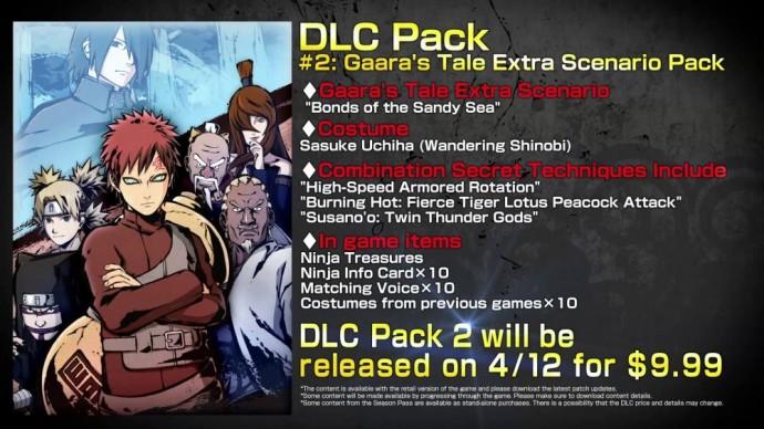 Naruto Shippuden Ultimate Ninja Storm 4 contenu du DLC Gaara's Tale