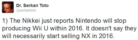 Tweet Dr. Serkan Toto fin de production Wii U