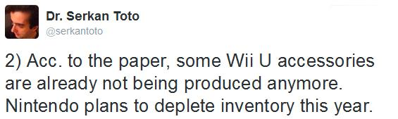 Tweet Dr. Serkan Toto fin production de Wii U