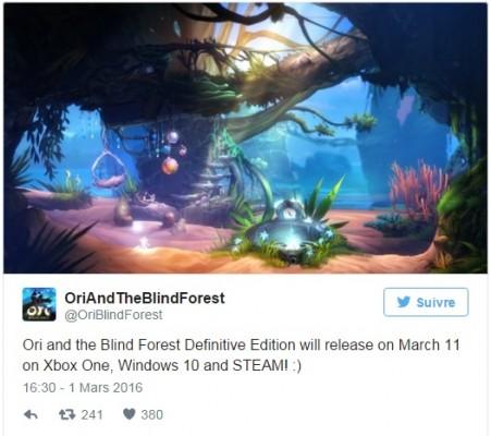 Ori and the Blind Forest Definitive Edition Twitter annonçant la date de sortie définitive