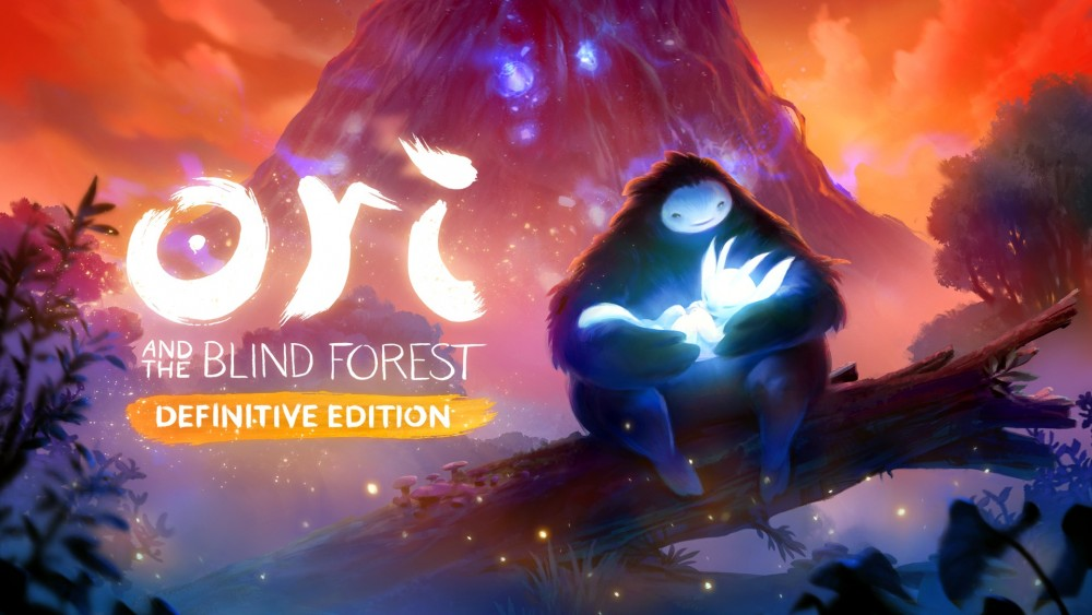 Ori and the Blind Forest Definitive Edition Naru et Ori posés devant un décor féérique avec le logo