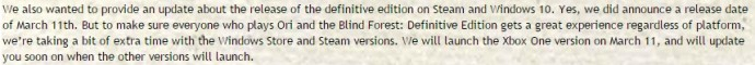 Déclaration de Mark Coates sur Ori and the Blind Forest Definitive Edition