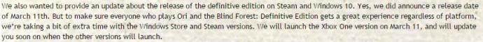 Déclaration de Mark Coates sur Ori and the Blind Forest Definitive Edition