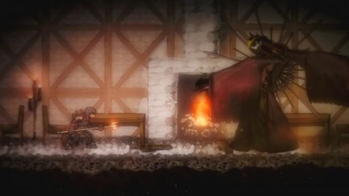 Salt and Sanctuary grand ennemi devant feu de cheminée