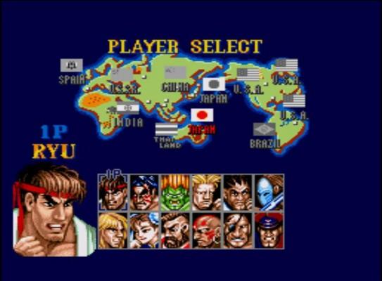 Ecran de sélection des personnages de Street Fighter II'