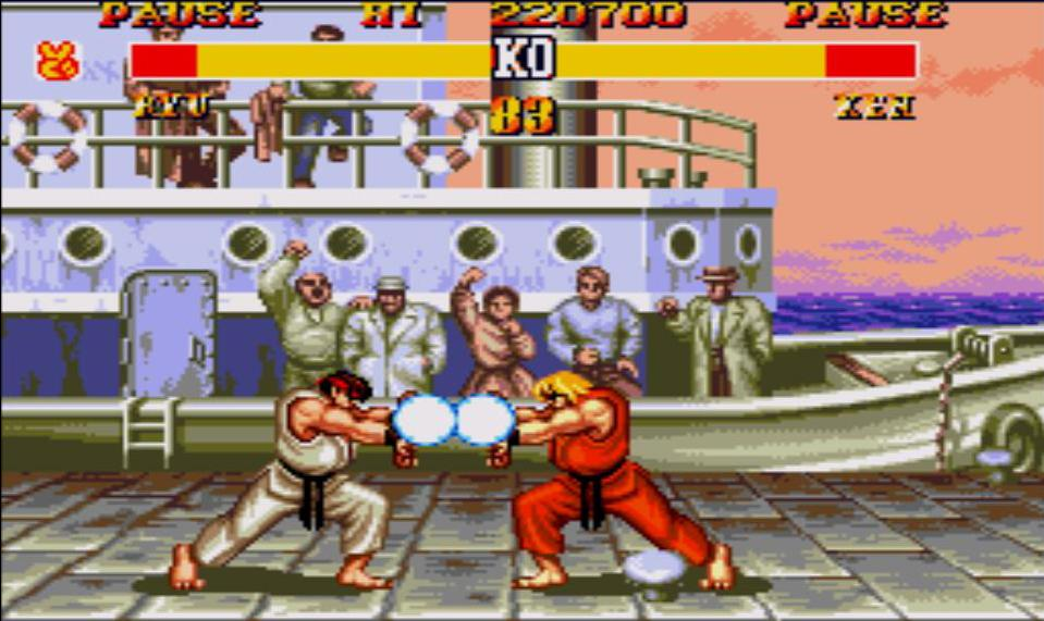Ryu et Ken font un Hadoken en même temps dans Street Fighter II'